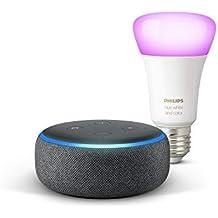 Echo Dot (3e génération), Tissu anthracite + Philips Hue White & Color ampoule LED connectée (E27), compatible avec Bluetooth et Zigbee (aucun hub requis)
