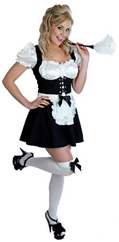 Kostüm Kittel Übergröße - Damen Sexy frecher Fräulein FRANZÖSISCHES DIENSTMÄDCHEN Dienstmädchen Haushälterin Dirndel & Kittel Rocky Horror Kostüm Kleid Outfit UK 6-22 Übergröße - Schwarz, 8-10