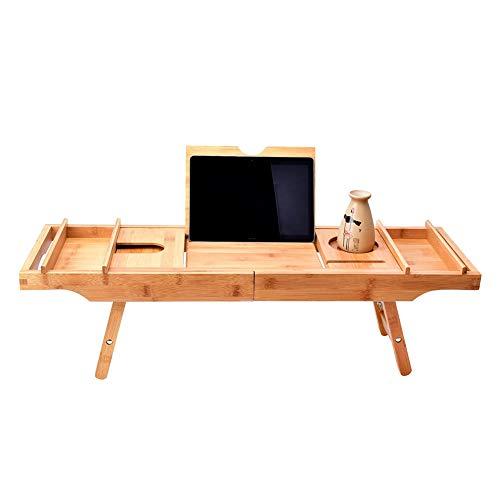 PENGSHAO Badewanne Caddy & Laptop Bett Schreibtisch - 2 in 1 Innovatives Design Verwandelt Unsere 100% Extra große Bambus Badewanne Tablett zu Bett Tablett - für das Ultimative Verwöhnerlebnis -