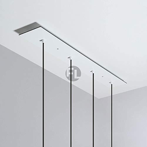 Baldachin rechteckig Lampe 4 loch (Lampenbaldachin, 90x12x0,3 cm) - weiß