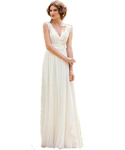 CoCogirls Braut Chiffon V-Ausschnitt Cap Sleeve Kleid Bohemien Strand Hochzeitskleider Brautkleider...