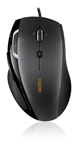Rapoo N6200 ergonomische kabelgebundene Maus (2100 DPI, optisch, 5 konfigurierbare Tasten, DPI/Zoom/Vor/Zurück Taste, gummiertes Mausrad, USB) dunkelgrau