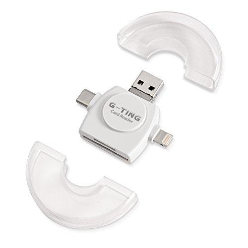 4 in 1 Kartenleser, g-ting Micro-SD-Kartenleser mit Typ C USB 2.0 Lightning-Anschluss OTG HUB Adapter TF Flash-Speicherkarte Leser für Iphone, Ipad, Mac, PC und Android (Fingerabdruck-leser-software)