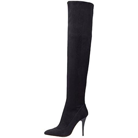 Minetom Mujer Invierno Boots Alto Botas Esbelto Tacón Alto Botas Estiletes Por Encima Rodilla Botas
