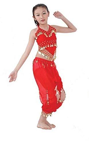 The Turkish Emporium Bauchtanz Kostüm für Kinder Kids Mädchen Dancing-Outfit bis Halloween Party Kleid Rot
