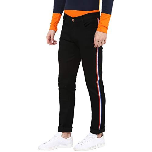 Urbano Fashion Men's Black Side Striped Slim Fit Jeans Stretch (hpsstripebwr-black-34-fba)
