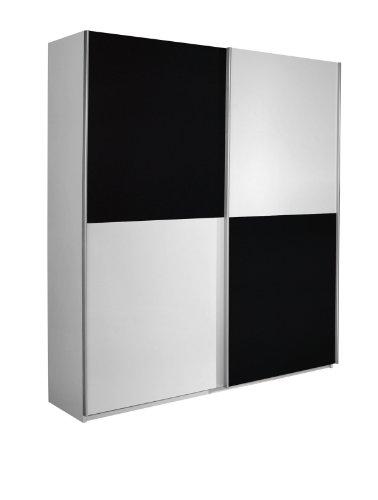 Rauch Schwebetürenschrank Kleiderschrank Weiß 2-türig, Absetzung Grau Metallic Nachbildung, BxHxT 181x197x62 cm