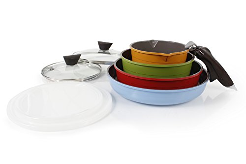 Neoflam Midas 9-piece Ceramic Nonstick Cookware Set with Detachable Handle, Multicolored, Space-Saving by Neoflam