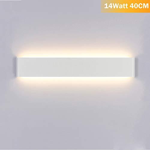 Applique da Parete Interno Moderno Bianco Caldo LED Lampada da Parete 14W Perfetto per Camera da Letto Soggiorno Corridoio Bagno Scale Acrilico Alluminio