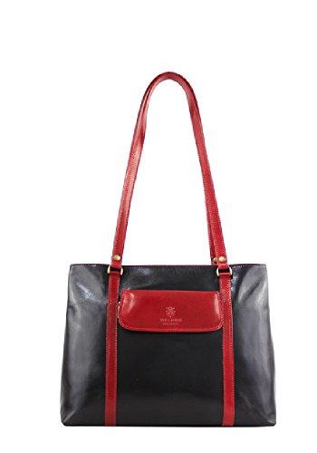 Borse a Spalla Donna Ruby in Vera Pelle, Made in Italy Nero-Rosso