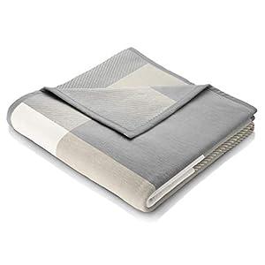biederlack® weiche Kuschel-Decke I Made in Germany I Öko-Tex Made in Green I nachhaltig produziert I Across Beige I Couch-Decke aus Baumwolle und Dralon kariert I Sofa-Decke 220x240cm grau-beige