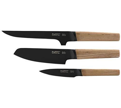 BergHOFF Ron Lot de 3 couteaux avec manche en frêne