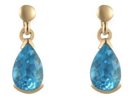 9ct Yellow Gold Real Blue Topaz Drop