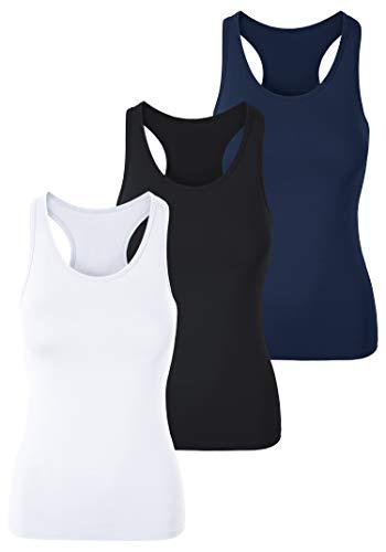 Racerback-bh Tank (H HIAMIGOS Cotton Essentials Damen Oberteile Basic Tank Tops Racerback 3er Pack, weiß+schwarz+dunkelblau, XXL)