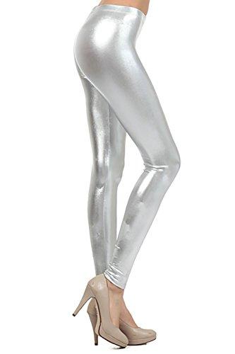 Verrückte Mädchen Frauen Damen Metallic Glänzend Glanz Squad Kostüm Wet Look Leggings (L/XL-EU44/46, Silber)