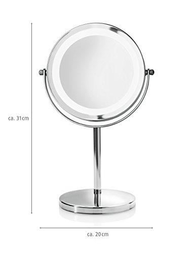 Medisana CM 840 Kosmetikspiegel mit LED Beleuchtung, normal und 5-fache Vergrößerung, 13 cm Durchmesser, 18 LEDs, verchromt - 5