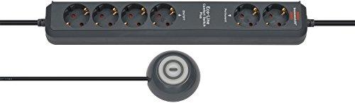 Brennenstuhl Eco-Line Comfort Switch Plus, Steckdosenleiste 6-fach (2 permanente, 4 schaltbare Steckdosen, beleuchteter Fußschalter) Farbe: anthrazit