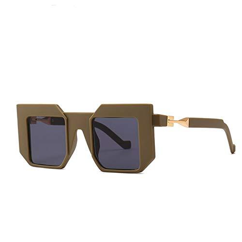 WDDYYBF Sonnenbrillen, Unisex Mode Übergröße Quadratische Sonnenbrille Sonne Brille Männer Frauen Goggle Schild Sonnenbrille Uv400 Army Green