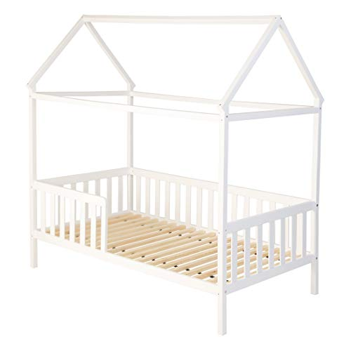 ...| Kinderbett Hausbett Spielbett Heim | 80 x 160 cm | Himmel und Vorhang möglich | Holz lackiert | mit Absturzsicherung Rausfallschutz und Lattenrost | weiß | Matratzen-empfehlung | ohne Bettkasten