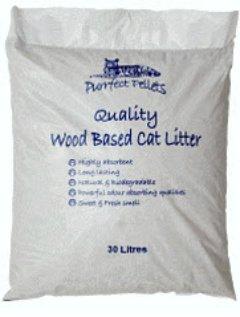 Litière pour chat Granulés de bois basée 30litres Purrfect