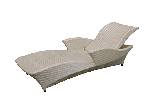 korb.outlet Elegante Gartenliege Deluxe/verstellbare Polyrattan Garten Liege Outdoor/Sonnenliege Gartenmöbel Perlmutt - Weiss (Gartenliege mit Armlehne) -