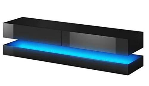 PEGANE Meuble TV Design Coloris Noir/Noir Brillant, avec éclairage à la LED Bleue