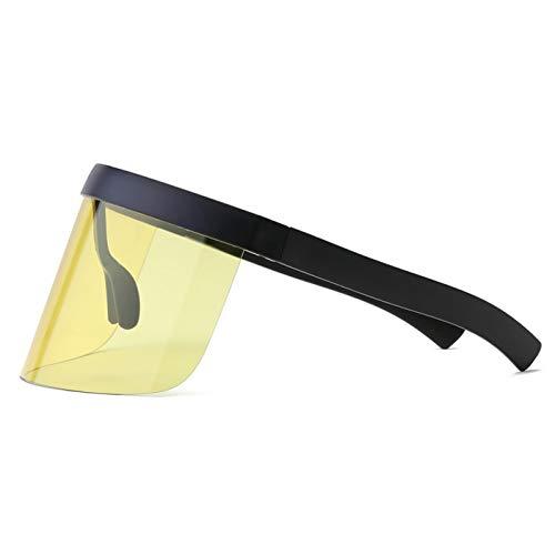 CCGSDJ Vintage Retro Shield Visier Maske Sonnenbrille Frauen Männer Übergroßen Winddicht Brille EIN Peice Großen Rahmen Brille Sonnenbrille