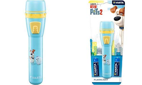 VARTA 15640101421 Pets Stableuchte Kinofilm (inkl. 2x AA Longlife Power Batterien geeignet für Kinder, Kindergeburtstag) blau
