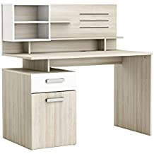 Escritorio o mesa de estudio, oficina o despacho con estante suspendido cajón y armario de diseño moderno blanco y roble 122x123x60 cm