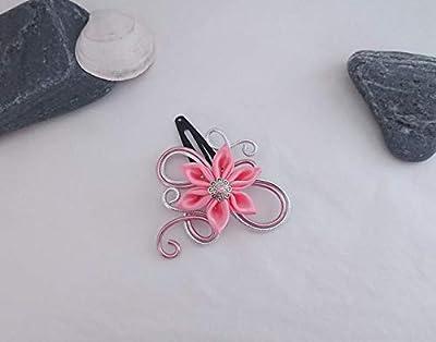 Pince à cheveux fleurs kanzashi tsumami rose pâle/argenté