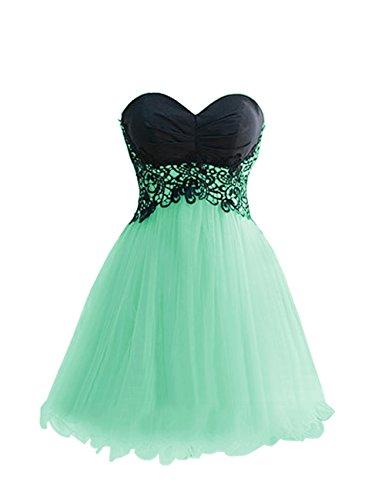 Dresstells, robe de cocktail courte/mini forme princesse bustier en coeur en tulle et dentelle Jaune