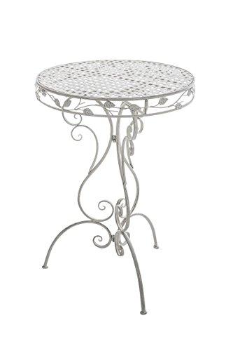 schöner Stehtisch für draußen in Antik Weiß Runder Gartentisch Beistelltisch nostalgie Design Optik