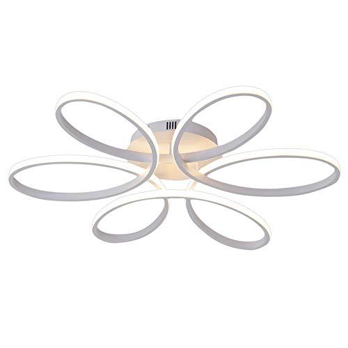 Henley LED-Deckenleuchte Modern 75W LED Lampen 6 Ring Deckenbeleuchtung Deckenstrahler Wohnzimmer Schlafzimmer Kreativ Lampe Acryl Weiß Deckenlampe für Flur Design Leuchte Ø58CM, warmweißes -