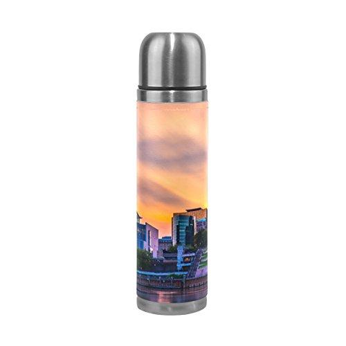 ISAOA Wasser Flasche Edelstahl, doppelwandige Vakuum Isolierte Thermos Cup auslaufsicher Reisen Tee Kaffee Becher Echt Leder Hülle hält Getränke Heiß und Kalt 17Oz £ ¨ Hartford mit Breeze £ © -