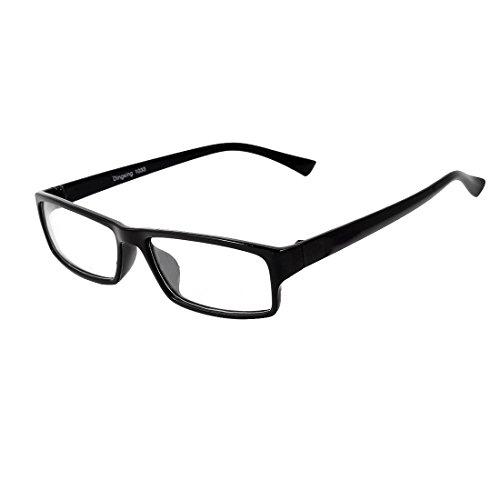 Unisex Voll Felgen Schwarz Waffen Durchsichtige Linse Plastik Rahmen Schlicht Brillen - Damen, Schwarz, Einheitsgröße