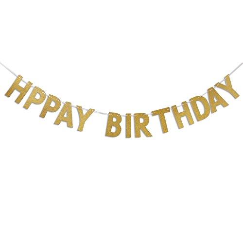 PIXNOR Happy Birthday Banner Glitter Gold Party Dekorationen (Happy Birthday Glitter Banner)