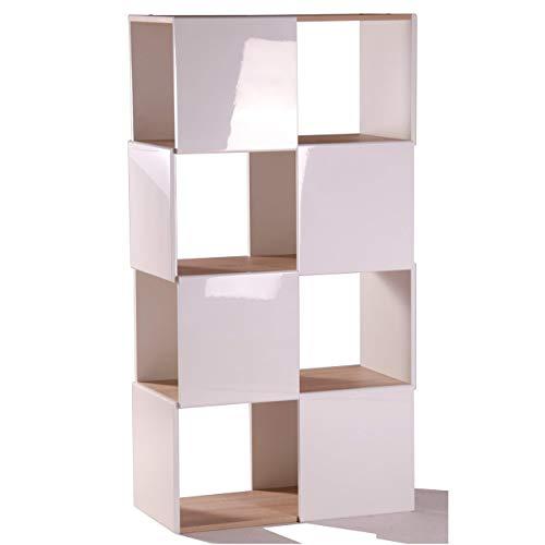 Eiche Runde Bücherregal Schrank (Phönix 115503WE Matrix 4 x 2 Raumteiler, eiche-sägerau / weiß)