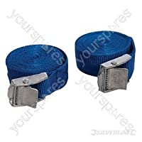 Silverline 449682 Tie-Down Cam Buckle Straps 2.5m x 25mm 250kg Lashing Capacity 500kg Breaking Strain Pack of 2