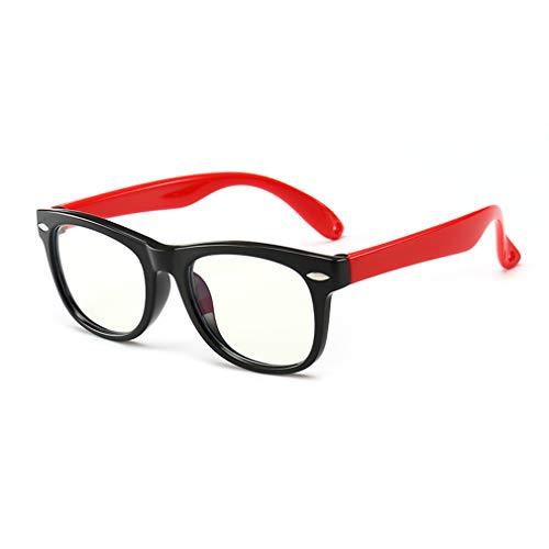 Hibote Mädchen Jungen Anti Blaulicht Brillen - Silikon - Klare Linse Gläser Rahmen Geek/Nerd Brillen mit Auto Form Brillenetui - 18083002