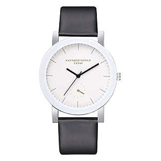 Lolamber-Armbanduhr-fr-Herren-Damen-Slim-Uhr-Armband-Mnner-Leder-Geschfts-Klassisch-Analog-Quarz-Dnn-Armbanduhr-Gents-Luxus-Elegant-Schwarz-Uhr-mit-Wei-Zifferblat