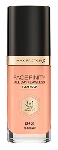 Max Factor Facefinity All Day Flawless 3 in 1 Foundation in Bronze 80 - Primer, Concealer & Foundation in einem - Für ein perfekt mattiertes Finish - 1 x 30 ml
