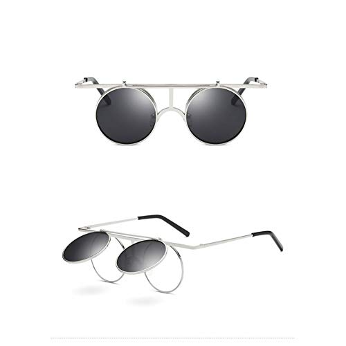 Kjwsbb Herren Vintage Runde Sonnenbrille Herren Polarisierte Kleine Runde Flip Up Sonnenbrille Damen Retro Metall Silber