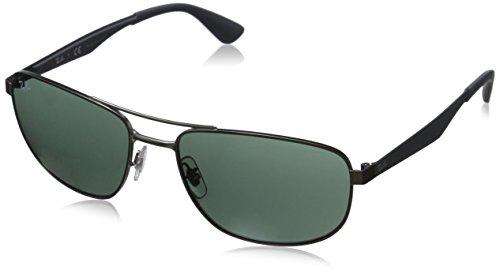 Ray-Ban Herren Sonnenbrille Rb 3528 Matte Gunmetal/DarkGreen, One size (58)