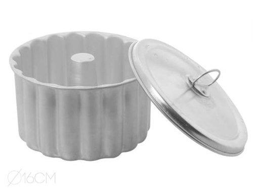 Ar - Molde Puding Rizado - Flanero Individual en Aluminio con Tapa - 18 cm