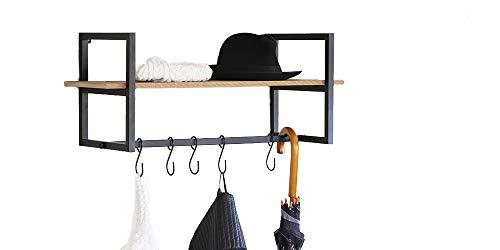 LIFA LIVING Wandgarderobe mit Ablage | Vintage Schweberegal | Regal mit Aufhängungssystem | 5 Haken zum aufhängen von Mänteln und Jacken | MDF- Holz und schwarzem Metall -