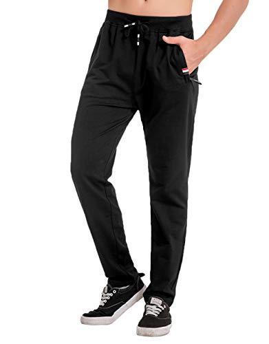 CHYU Herren Jogginghose, Herren Trainingshose, Jogginghose Herren Sporthose Herren Lang Sweatpants Baumwolle mit Reissverschluss Taschen Kordelzug (Schwarz-Breiter Boden, XL)