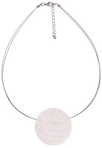 Leslii Halskette Capizmuschel Weiß | kurze Damen-Kette Mode-Schmuck | 42cm + Verlängerung (Tragen Weißer Hals)
