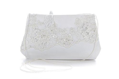 Brauttasche aus Satin in Weiß und Ivory | Clutch von Princess Taufkleid zum Brautkleid oder zur Abendgarderobe | Damenhandtasche zur Hochzeit, Taufe & Kommunion - verschiedene Modelle Elfenbein