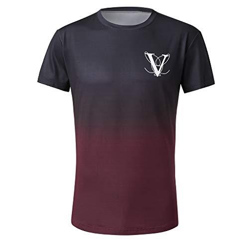 Aiserkly Herren Mode Rundkragen Elastische Farbverlauf Elliptischer Saum Lässige Fitness T Shirt Kurzarm Hemd