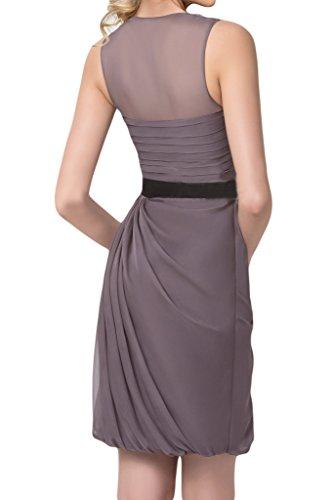 ivyd ressing Femme Moderne Nœud col rond mousseline & tuell Party robe robe de bal robe du soir Gris - Gris foncé